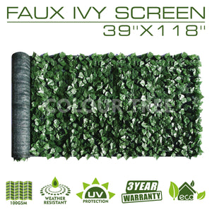 "Artificial Hedges Faux Ivy Leaves Fence Privacy Screen Panels  Decorative Trellis - 39"" x 118"" - ColourTree"