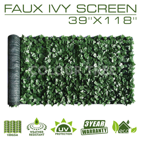 "Artificial Hedges Faux Ivy Leaves Fence Privacy Screen Panels  Decorative Trellis - 39"" x 118"""