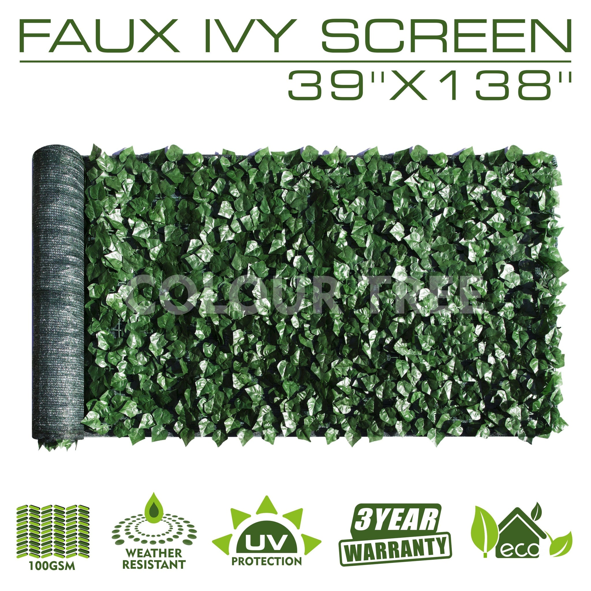 "Artificial Hedges Faux Ivy Leaves Fence Privacy Screen Panels  Decorative Trellis - 39"" x 138"""