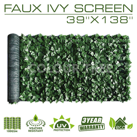 "Artificial Hedges Faux Ivy Leaves Fence Privacy Screen Panels  Decorative Trellis - 39"" x 138"" - Colourtree inc"