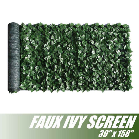 "Artificial Hedges Faux Ivy Leaves Fence Privacy Screen Panels  Decorative Trellis - 39"" x 158"""