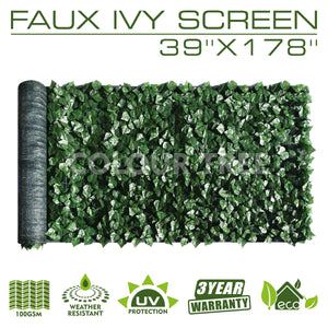 "Artificial Hedges Faux Ivy Leaves Fence Privacy Screen Panels  Decorative Trellis - 39"" x 178"""