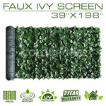 "Artificial Hedges Faux Ivy Leaves Fence Privacy Screen Panels  Decorative Trellis - 39"" x 198"" - ColourTree"