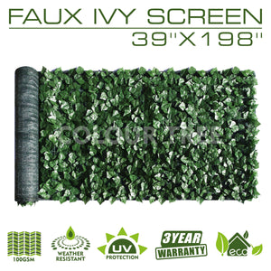 "Artificial Hedges Faux Ivy Leaves Fence Privacy Screen Panels  Decorative Trellis - 39"" x 198"""
