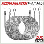36 Feet (12ft x 3) PVC Coated Stainless Steel Metal Wire Cable Ropes Hardware Kits For Triangle Sun Shade Sail Canopy  - Commercial Standard Heavy Duty - ColourTree