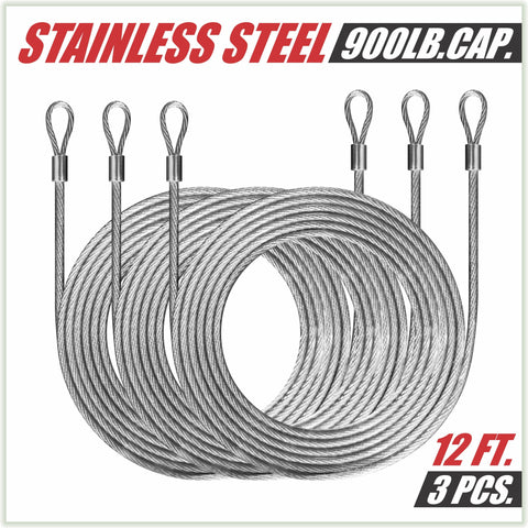 36 Feet (12ft x 3) PVC Coated Stainless Steel Metal Wire Cable Ropes Hardware Kits For Triangle Sun Shade Sail Canopy  - Commercial Standard Heavy Duty - Colourtree inc