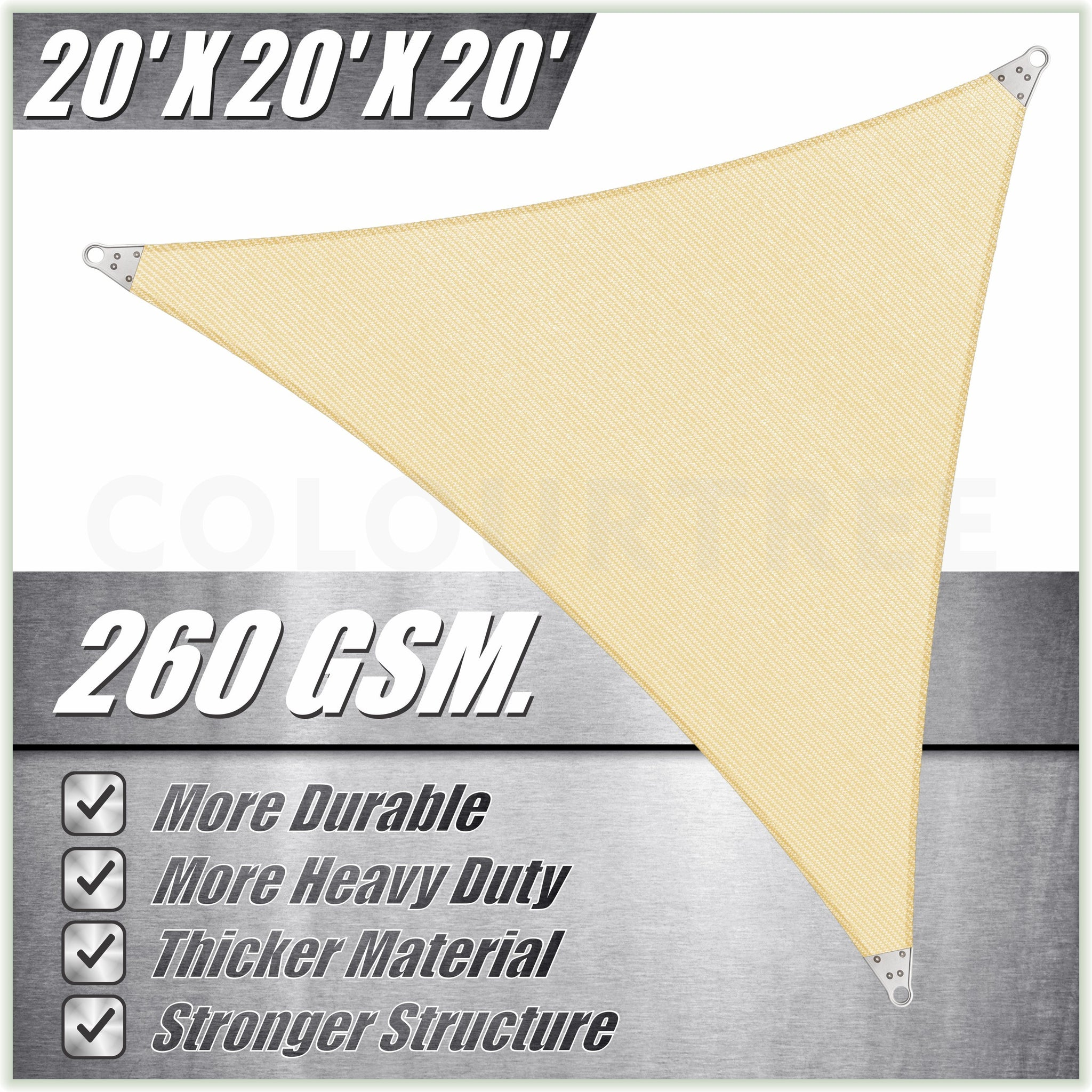 Triangle Super Ring - Heavy Duty, Super Durable Sun Shade Sail | 5 Colors & 6 Sizes - ColourTree