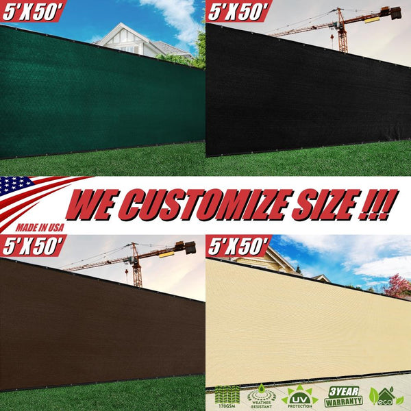 5 Feet Tall Custom Size Order to Make Fence Privacy Screen Windscreen Mesh - Green, Black, Beige, Brown, Grey, White, Blue