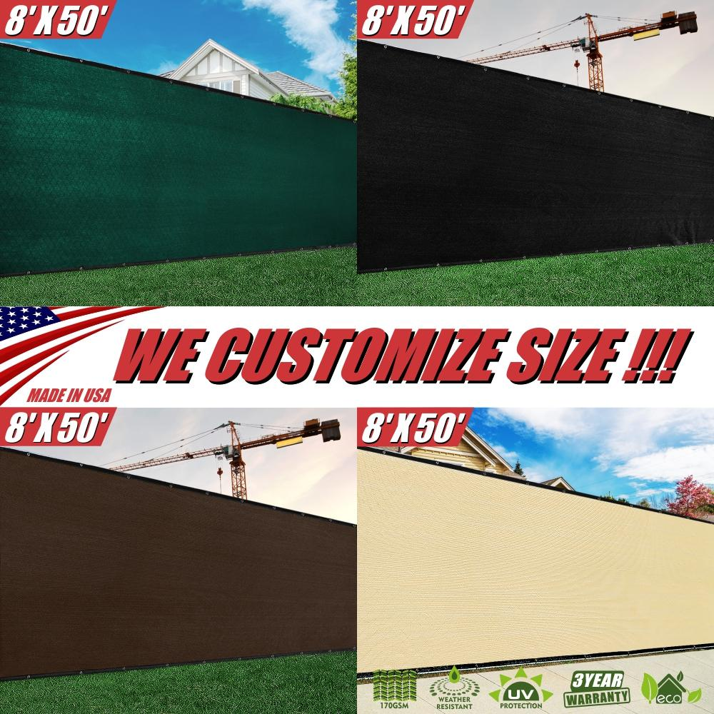 8 Feet Tall Custom Size Order to Make Fence Privacy Screen Windscreen Mesh - Green, Black, Beige, Brown - Colourtree inc