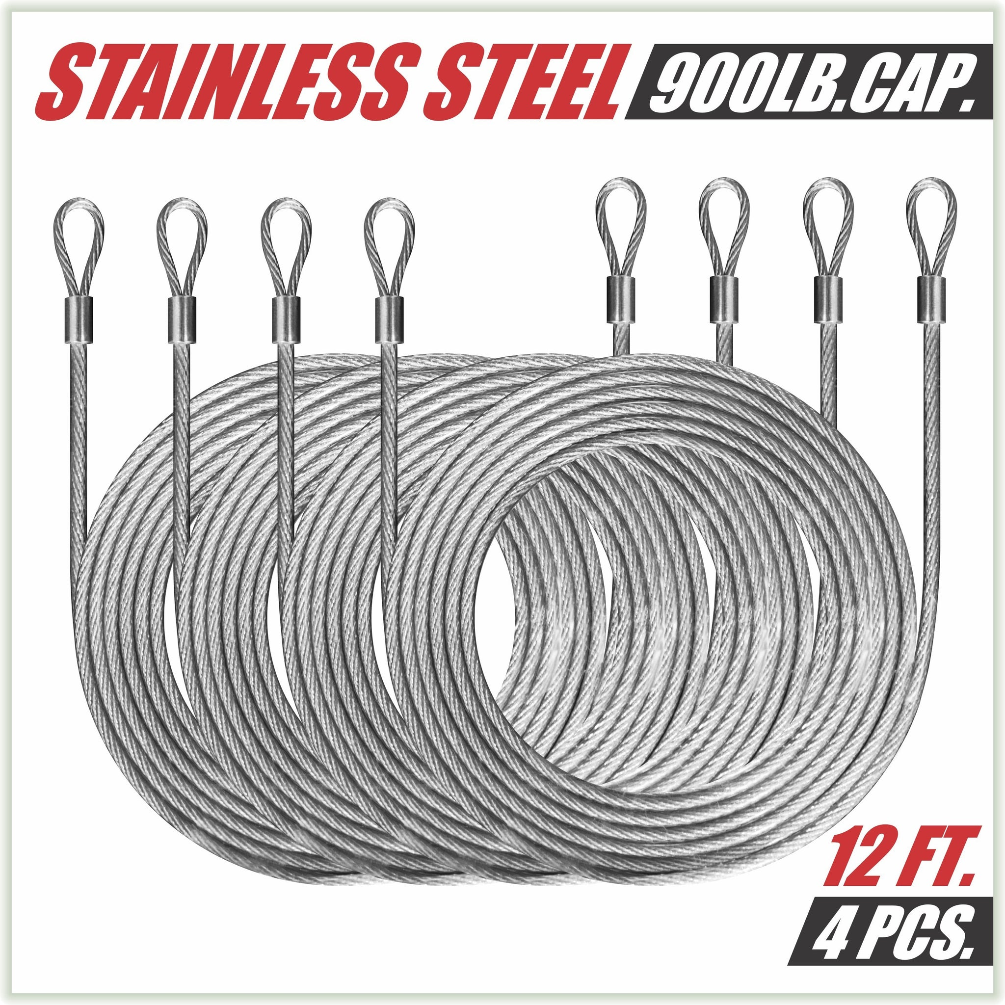 48 Feet (12ft x 4) PVC Coated Stainless Steel Metal Wire Cable Ropes Hardware Kits For Square and Reactangle Sun Shade Sail Canopy  - Commercial Standard Heavy Duty - Colourtree inc