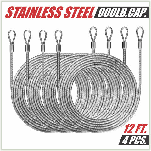 48 Feet (12ft x 4) PVC Coated Stainless Steel Metal Wire Cable Ropes Hardware Kits For Square and Reactangle Sun Shade Sail Canopy  - Commercial Standard Heavy Duty - ColourTree