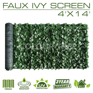 Artificial Hedges Faux Ivy Leaves Fence Privacy Screen Panels  Decorative Trellis - 4' x 14'