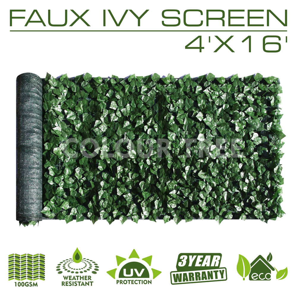 Artificial Hedges Faux Ivy Leaves Fence Privacy Screen Panels  Decorative Trellis - 4' x 16' - ColourTree