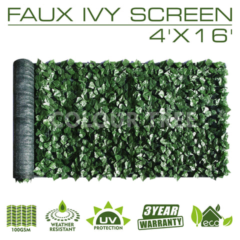 Artificial Hedges Faux Ivy Leaves Fence Privacy Screen Panels  Decorative Trellis - 4' x 16'