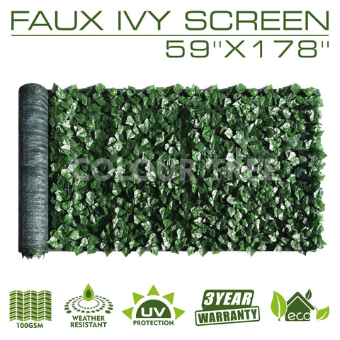 "Artificial Hedges Faux Ivy Leaves Fence Privacy Screen Panels  Decorative Trellis - 59"" x 178"""