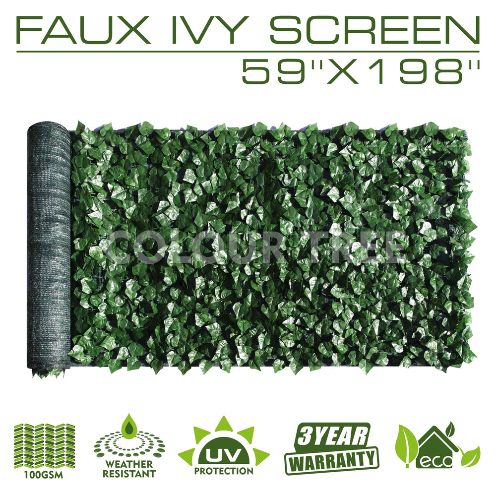 Artificial Hedges Faux Ivy Leaves Fence Privacy Screen Panels  Decorative Trellis - 59