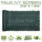 "Artificial Hedges Faux Ivy Leaves Fence Privacy Screen Panels  Decorative Trellis - 59"" x 198"" - ColourTree"
