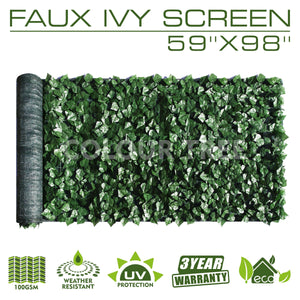 "Artificial Hedges Faux Ivy Leaves Fence Privacy Screen Panels  Decorative Trellis - 59"" x 98"" - ColourTree"