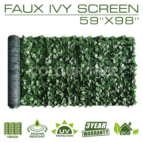 "Artificial Hedges Faux Ivy Leaves Fence Privacy Screen Panels  Decorative Trellis - 59"" x 98"""