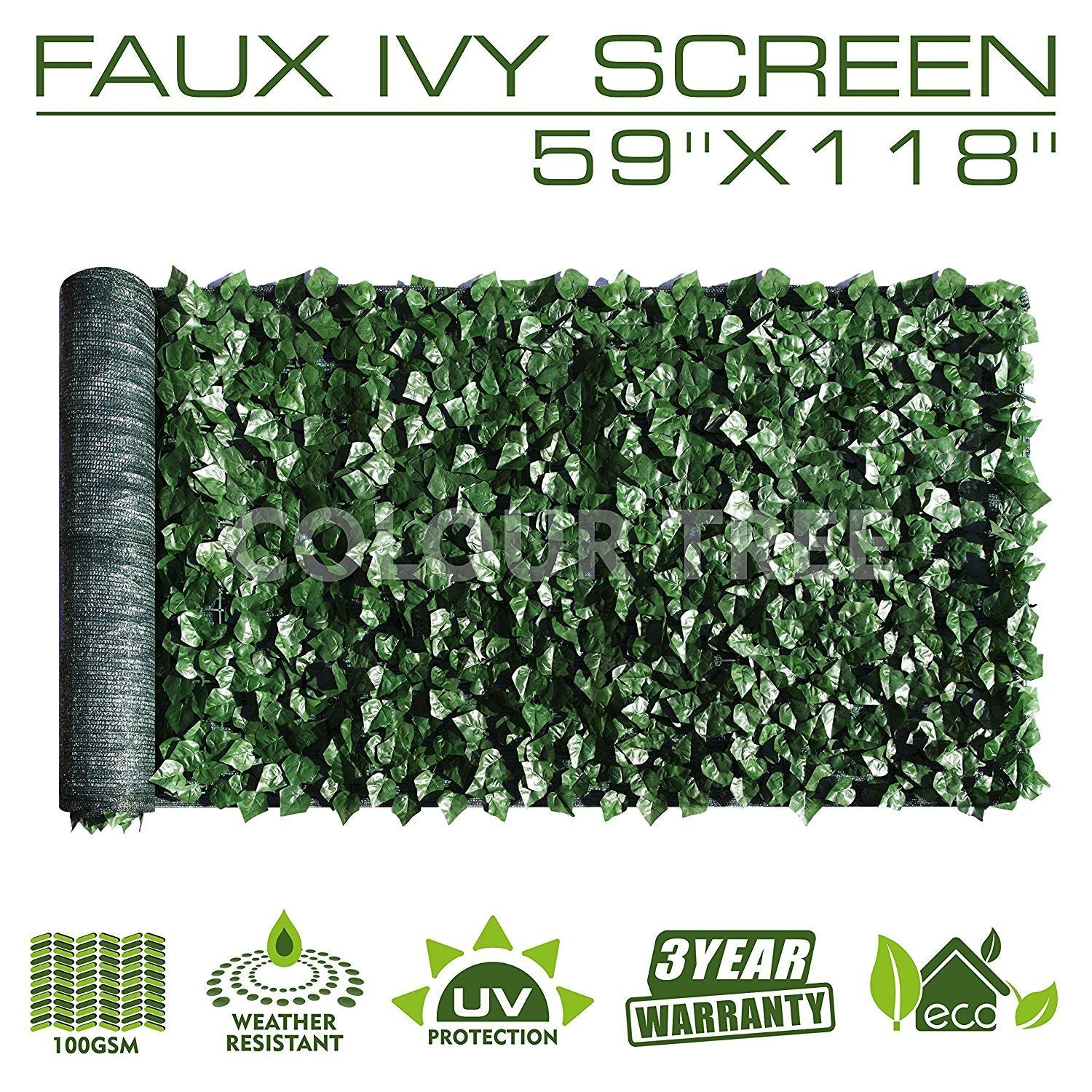 "Artificial Hedges Faux Ivy Leaves Fence Privacy Screen Panels  Decorative Trellis - 59"" x 118"" - Colourtree inc"