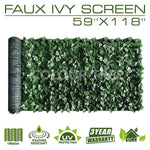 "Artificial Hedges Faux Ivy Leaves Fence Privacy Screen Panels  Decorative Trellis - 59"" x 118"" - ColourTree"