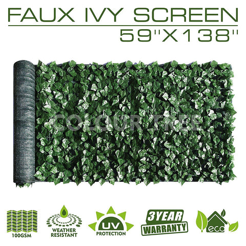 "Artificial Hedges Faux Ivy Leaves Fence Privacy Screen Panels  Decorative Trellis - 59"" x 138"" - Colourtree inc"