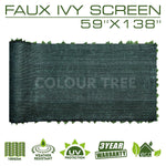 "Artificial Hedges Faux Ivy Leaves Fence Privacy Screen Panels  Decorative Trellis - 59"" x 138"" - ColourTree"