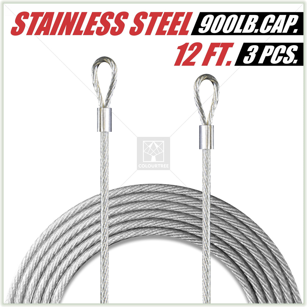 36 Feet (12ft x 3) PVC Coated Stainless Steel Metal Wire Cable Ropes ...