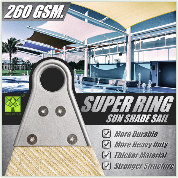 Rectangle Super Ring - Heavy Duty, Super Durable Sun Shade Sail, 4 Sizes, 5 Colors