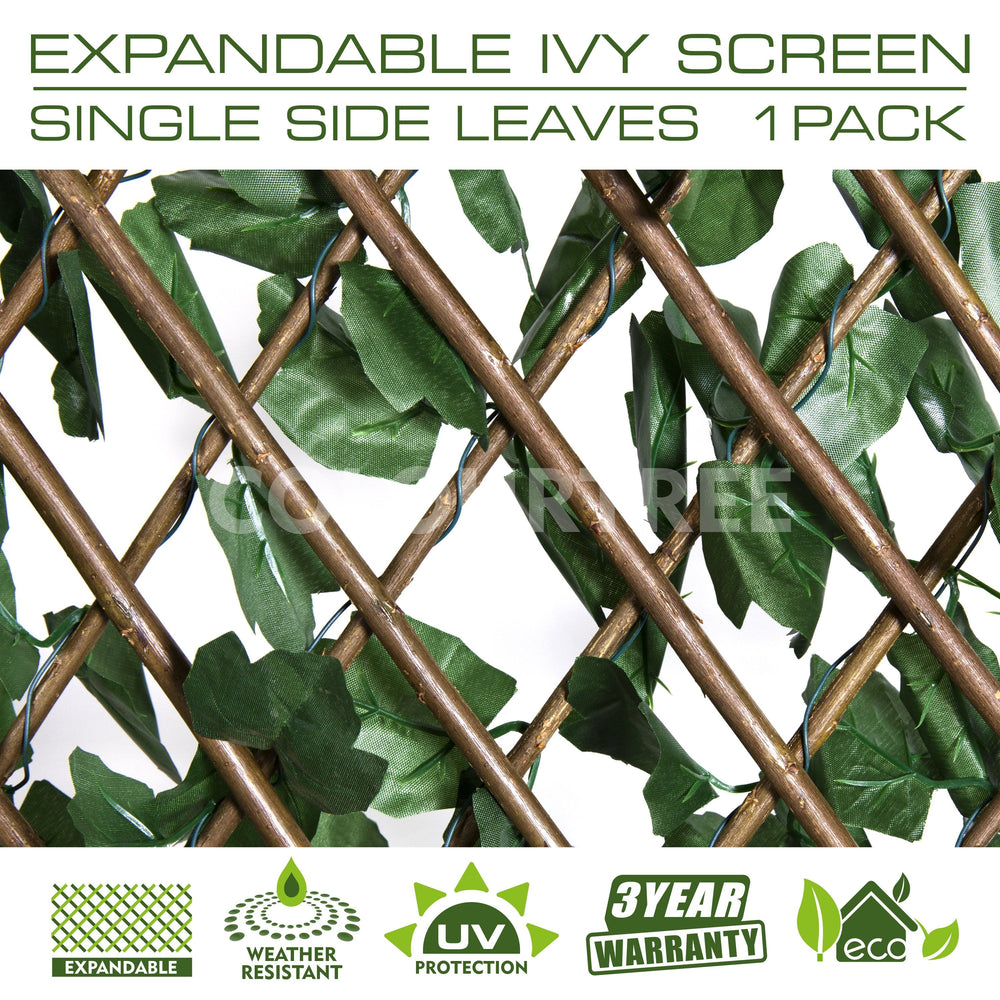 Load image into Gallery viewer, ColourTree  Expandable Faux Artificial Ivy Trellis Fence Screen Privacy Screen Wall Screen - Commercial Grade 150 GSM - Heavy Duty - 3 Years Warranty - ColourTree