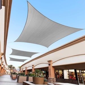 Square/Rectangle Sun Shade Sail Canopy, Commercial Grade, 4 Sizes, 10 Colors