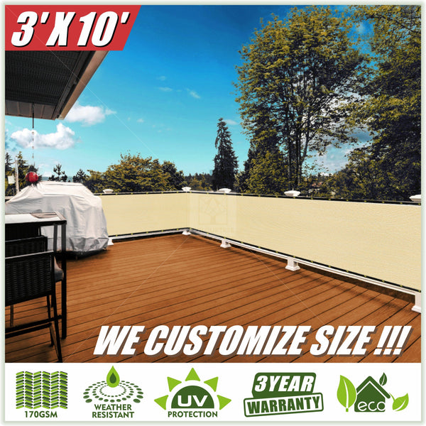 3 Foot Fence Outdoor Privacy Screen Cover Windscreen with Heavy Duty Brass Grommets, Commercial Grade - 170 GSM, 4 Colors