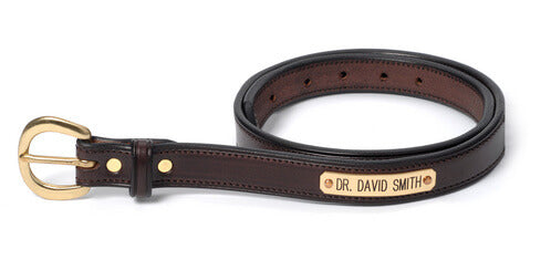 "Mens 1 1/2"" Stitched Name Plate Belt"