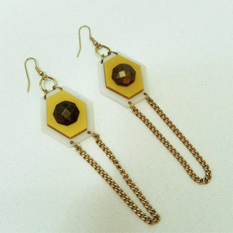 Geometric Long Yellow and Gold Earrings