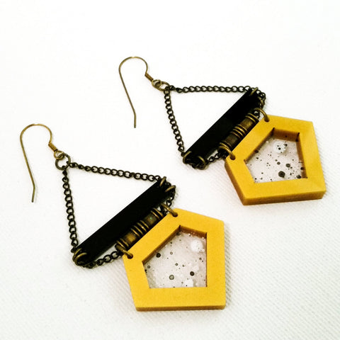 Long Geometric Statement Black and Gold Earrings