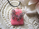 Handmade Silver Butterfly Pendant Pink Agate