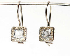 Small Square Silver Earrings
