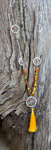 Long MALLA Style Necklace with Orange Slices