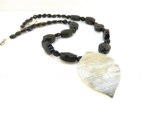 Black necklace, Statement jewelry, Statement necklace, Impresive jewelry, Wedding jewelry, Jewel Ball, Silver leaf, Fashion jewelry, gift - Blue Hill Jewelry