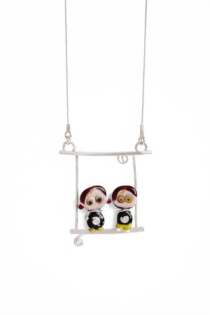 Two Kids on a Swing Glass Necklace One-of-a-Kind