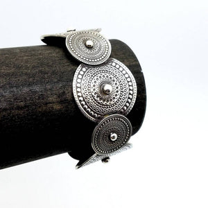 Mandala Open Cuff Silver Hammered Bangle