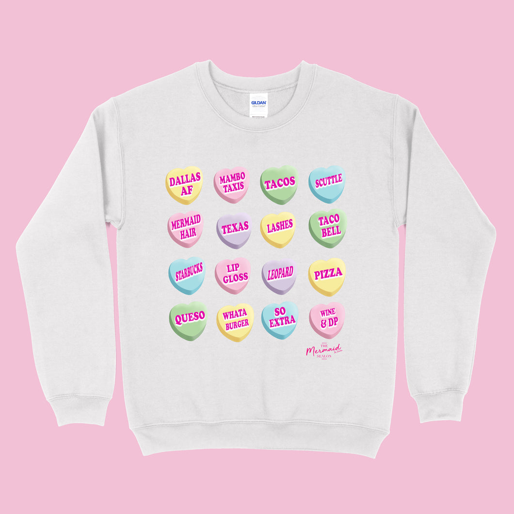 Mini Conversation Hearts V-Day Sweater