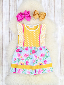 Mustard / Pink Polka Dot Floral Ruffle Dress