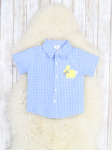 Blue Checkered Bunny Button Shirt