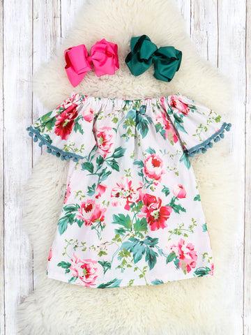 Pink Peony Floral Ruffle Dress