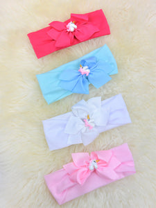 3 Inch Unicorn Bow Wide Headband- 4 Colors Available
