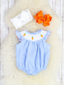 Blue Checkered Smocked Carrot Ruffle Bubble Romper