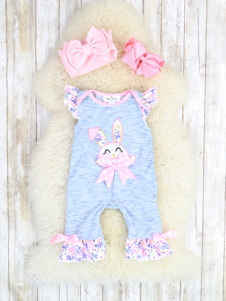 Heather Blue Bunny Romper