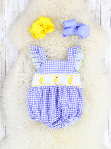 Purple Gingham Chick Ruffle Sleeve Bubble Romper