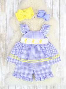 Purple Gingham Chick Ruffle Top & Short Outfit